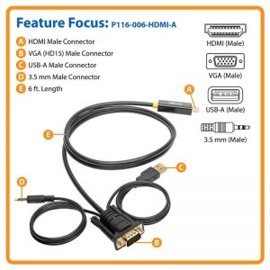 VGA + Audio to HDMI Adapter Cable with USB Power, 1920 x 1080 (1080p) @ 60 Hz (M/M), 6 ft. (1.83 m)