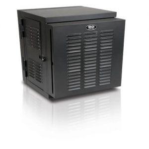 SmartRack 12U IP54 Switch-Depth Wall-Mount Rack Enclosure Cabinet for Harsh Environments, Hinged Back, 230V