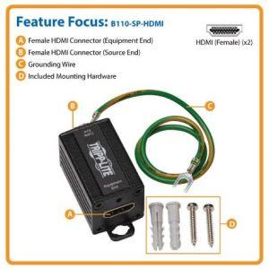 In-Line HDMI Surge Protector - 4K @ 30 Hz, HDCP, Metal Case, IEC Compliant, TAA